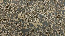 iLiv Indira Charcoal Elephants Curtain Upholstery Craft Designer Cotton Fabric