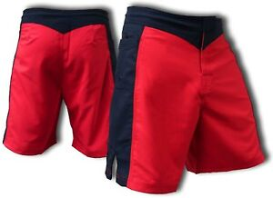 BLANK RED AND BLACK MMA FIGHT SHORTS - SIZE 32
