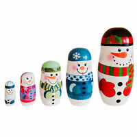 5Pcs/Set Christmas Snowman Russian Wooden Matryoshka Nesting Dolls Kids Gift