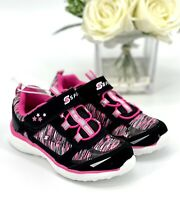 Skechers Tyro Sneakers Toddler Girl's Sz 9 Athletic Tennis Shoes Black Pink NEW