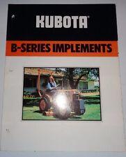 Kubota B-Series Tractor Implements Sales Brochure tiller backhoe blade trencher&
