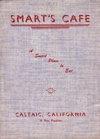 Vintage SMART'S CAFE Restaurant Menu Castaic California 1950