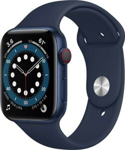 Apple Watch Series 6 (GPS + Cellular) 44mm Blue Aluminum Case with Deep Navy...