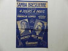 Partition Samba brésilienne de l'opérette 4 jours à Paris ANDREX NELLY WICK
