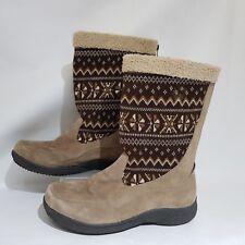 Propet Women's Raquelle Suede Boot Classic Taupe Brown Beige Sz UK 7 Aztec Snow