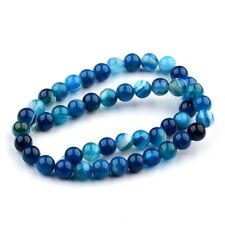Natural Blue Agate Gemstone Stripe Round Beads 15.5'' AAA Strand 6mm 8mm 10mm