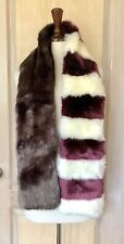 Urban Outfitters Scarf Wrap Faux Fur Wine Ivory Gray Striped Shawl O/S NEW