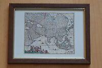 ASIA Landkarte Karte im Holzrahmen hinter Glas Reproduktion