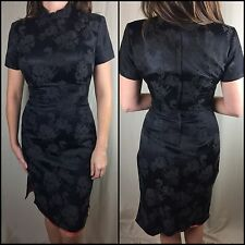 True Vintage 60s 70s Women's Qipao Cheongsam Chinese Black Dress Gown Size 13