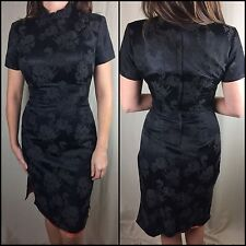 Vintage Women's 60s 70s Qipao Cheongsam Chinese Black Dress Gown Size 13