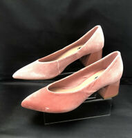 "NEW STRADIVARIUS Size UK 4 37 Pink Velvet Court Block 2"" Heels Pointy"