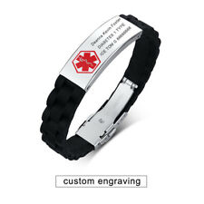 Emergency Silicone Band Medical Alert ID Men Bracelet Cuff Custom Free Engraving