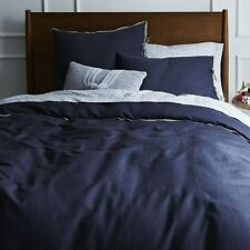$385 NWT OAKE LINEN NAVY BLUE KING COMFORTER DUVET COVER 100% LINEN ZIP CLOSE