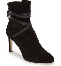 JIMMY CHOO 'dalal' 85 Black Suede Ankle Boots Tie Up Heels Size UK 7 Eu 40