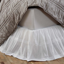 Shabby Chic White Bed Valance Skirt Single / Twin Bed Cotton Crepe + Lace New