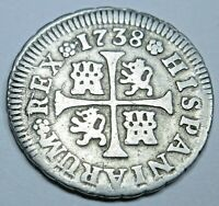 1738 Spanish Silver 1/2 Reales Piece of 8 Real Colonial Era Pirate Treasure Coin