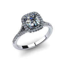 0.90 Ct Cushion Cut Genuine Real Diamond Engagement Ring 950 Platinum Size P