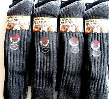 6 Pairs Mens Long Length CHUNKY Thermal Boot Sock Wool Blend Long Hose Cushioned