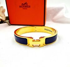 HERMES CLIC H BANGLE BRACELET Gold Purple Clic Clac New in Box