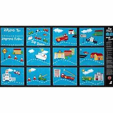 Zip Zooming DIY Book or story quilt  Panel Cotton 24 by 44inch Cars Planes