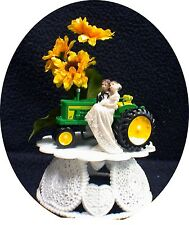 Sunflower Country Western John DEERE Tractor Wedding Cake Topper Farmer Barn Top