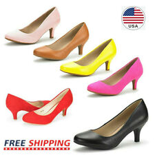 Women's Classic Round Toe Slip On Pump Shoes Low Stilettos Heel Comfort Shoes