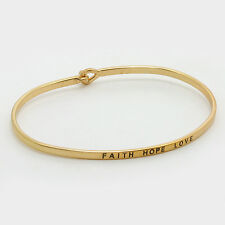 Message Bracelet Faith Hope Love Thin Metal GOLD Personal Engrave Jewelry Gift