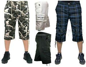 Mens 3/4 Long Length Shorts Elasticated Waist Cargo Combat Three Quarter jeans s