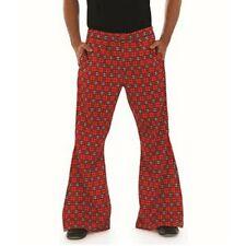 Fun Shack Red tartan flared trousers male adult fancy dress XL