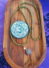 Mandala Mala Beads Buddhist Bracelet Necklace Sandalwood Green Wooden Yoga