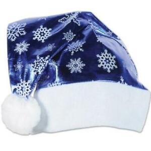 Metallic Blue Snow Flakes Santa Hat Winter Christmas Decoration