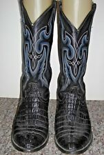 Cow Town Black Caiman Crocodile Alligator Leather Blue Stitched Cowboy Boots