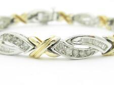 14k Two Tone Gold & Diamonds Hugs & Kiss Design Tennis Bracelet 3.50ct G-SI1