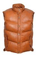Men's ARCTIC Puffer Tan Gilet Sleeveless Padded Waistcoat Vest Lambskin Leather