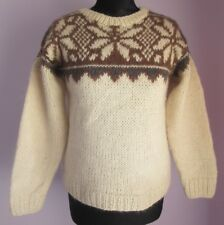 VTG Ladies Unbranded Cream/Brown Wide Neck Nordic Jumper Size Small (17F)