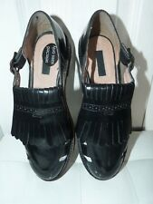 Ladies Black Leather Open Loafers TOPSHOP Size 6(39)