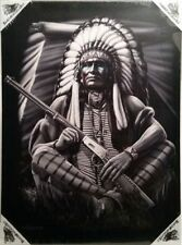 DGA Native American Gun Day of the Dead Stretched Canvas Wall Art 12x16 Inches