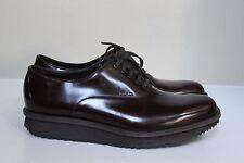 PRADA sz 8 US / 7 UK Brown Leather Lace up RAZOR Sole Logo OXFORDS Men's Shoes