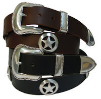 Marshall Star Men's Full Grain Leather Jean Belt Western Sheriff Star Conchos