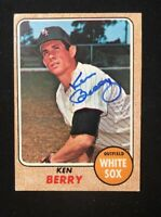 KEN BERRY 1968 TOPPS AUTOGRAPHED SIGNED AUTO BASEBALL CARD WHITE SOX 485