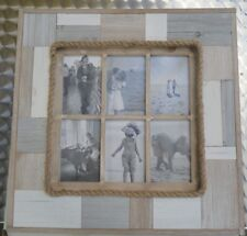 6 IN 1 Rustic Natural Wood Photo Frame Multi Picture collage 50CM