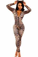 Leopard Print Zip up Jumpsuit Slit leg Clubwear Playsuit Fancy Dress Size  M L