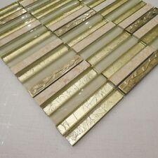 Designer Golden Tulip Glass & Marble Mosaic Tiles Walls Floors Bathrooms