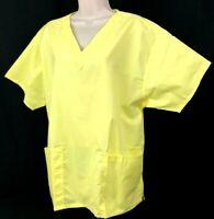 Yellow Scrub Top V Neck Womens Short Sleeve Scrub Top (Size L) New Scrubs - NWOT