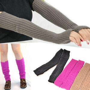 Fashion Long Fingerless Gloves Mitten Winter Wrist Arm Hand Keep Warmer Knitted