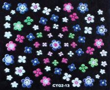 Nail art stickers ongles autocollants: fleurs pâquerettes multicolores