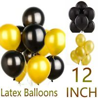 """Black & Gold Pack of 10-100pcs 12"""" Birthday Latex Balloons Party Decorations"""