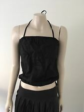 Pre-loved ''Witchery'' Black halter Top with elactised top & bottom Size 10