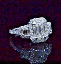 2.11 Ct 3 Stone Halo Emerald Cut Diamond Eternity Engagement Ring F,VS1 GIA 14K