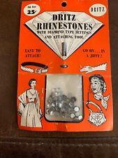 Vintage Dritz  Decorative Rhinestones & Diamond Type Settings &Tool NIP RARE 50s